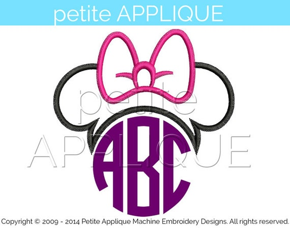 Cute Minnie Monogram Applique Design For Embroidery Machines Instant