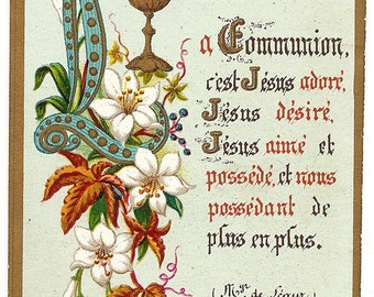 Communion Chalice & Flowers Antique French Holy Prayer Card, Catholic Communion Meditation from Vintage Paper Attic