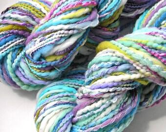 Handspun Yarn Merino Wool Silk Bamboo Tencel Hand Dyed Art Yarn Super Bulky Chunky 186 Yards Aqua Pastel Yarn Hand Made in USA - Painted Sky
