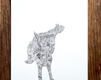On a look out - Original artwork / black and white ink illustration of little creatures by Nana Sakata