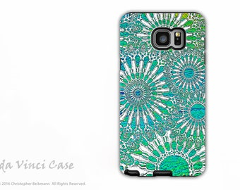 Abstract Case for Samsung Galaxy Note 5 - Beautiful dual layer Note5 Case with Turquoise Sea Urchin Art - Ocean Lace by Da Vinci Case