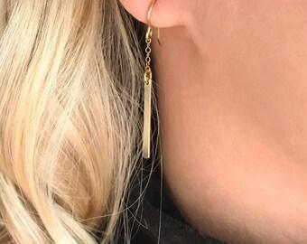 Gold bar earrings, Bar drop earrings, Gold fill or Sterling silver, Minimal earrings, Dainty chain with bar drop, Gift, Long earrings