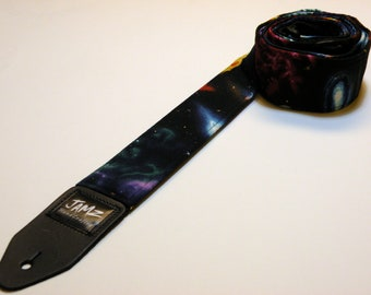 Guitar Strap SPACE JAM handmade double padded  - Galaxy - Solar System - Milky Way - Planets