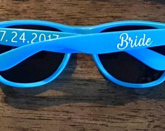 Customizable Sunglasses - novelty, sorority, wedding, vacation, bridal party - red, orange, yellow, green, blue, pink, purple, black, white