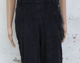 90's Bib Overall Corduroy Mickey Mouse Unlimited Pants Cotton Black Size M Fall Back To School Ladies
