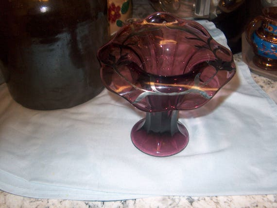 Antique Vintage Purple Glass Vase With Silver Overlay