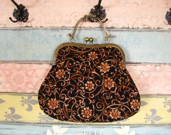 Vintage evening clutch purse with twirls and flowers, kiss lock purse, metal frame purse, purse with handle