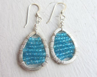Blue appatite  Earrings, Dangle Earrings, Deep Blue, Sky Blue, Ocean Blue, Beach Earrings, Beaded Earrings