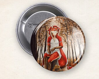 Little Red Ridding Hood - Pinback button / badge / pin / button