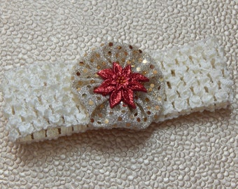 Poinsettia on Cream Crochet Children's Headband
