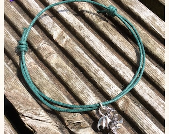 Green Cord Dragon Charm Anklet