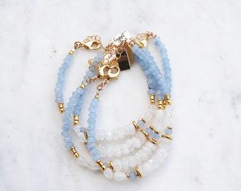 Baby Blues Beaded Gemstone Bracelet, blue jade, moonstone, gypsetco, gypset bracelet