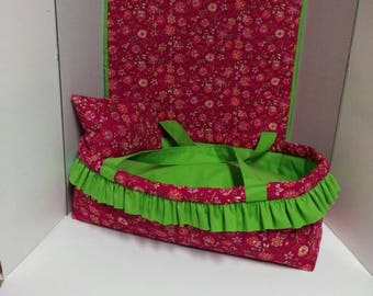 Baby doll bed /carrycot /Moses basket/Christmas gift/ holds an 18 inch doll