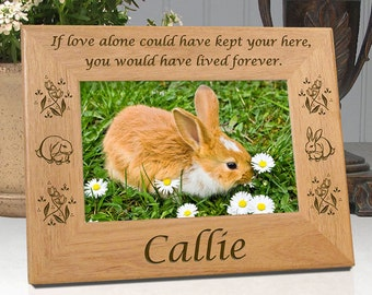 Bunny Rabbit Gift - If Love Alone Picture Frame - Personalized Pet Memorial - Free Sympathy Card