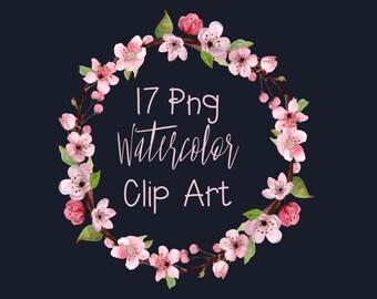 17 Watercolor Cherry Blossom Clip Art - Wreath - Border