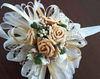 Beige corsage, Ivory, tobacco and gold corsage, Wedding corsage,Beige Prom corsage