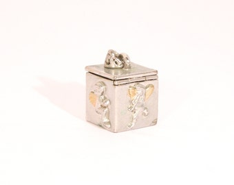 Vintage Prayer Box Charm Pendant Faeries or Angels with Flutes Opens Closes Vial Wish Box Charm