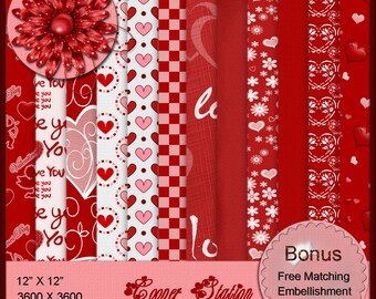 Digital Printable Valentine Paper Pack Two DP023