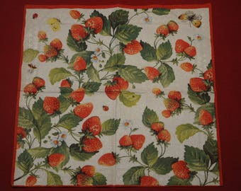 """fruits and vegetables """"Strawberry"""" themed paper napkin"""