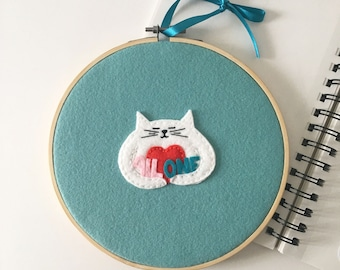 All One embroidery hoop, wall decor, gentle protest wall hanging, hugging cat, craftivist engaged art, cute cat love, OOAK - HibouDesigns