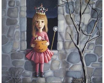 Treats - 8X10 Fine Art Print Trick or Treat Princess Girl with Candy-filled Pumpkin Pail on Halloween