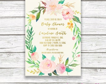Boho Baby Shower Invitation Girl, Floral Baby Shower Invitation, Garden Invitation, Watercolor Baby Shower Invite, Floral Wreath Printable