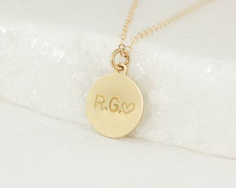 Gold Initials & Heart Stamp Necklace - Couples Necklace - Valentine's Day Gift