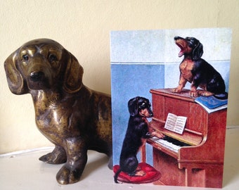 New Dachshund Design! Once More With Feeling - Fun Vintage Repro Card (Perfect for Musician or Pianist)