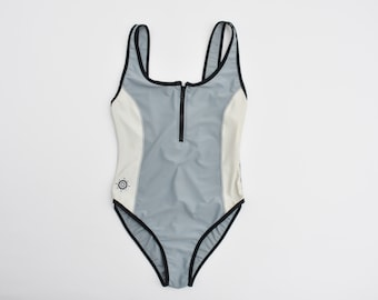 vintage sporty zipper front one piece swimsuit zip up sports gray ivory panel swimsuit with black trims and hip embroidery small medium size