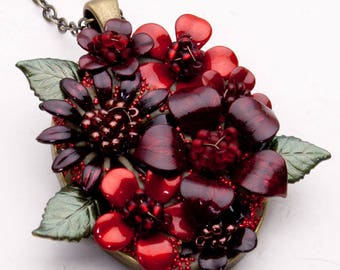 Flower Jewelry - Red Flower Necklace - Hand Painted Flowers - Flower Pendant - Bezel Necklace - Everlasting Flowers - OOAK Necklace