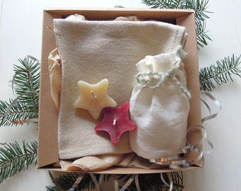 Relaxing Bath Gift Set, Spa Gift Set, Gift for Her, Gift for Mom, Organic Spa Gift, Bath Salts, Natural Wash Cloth, Candles