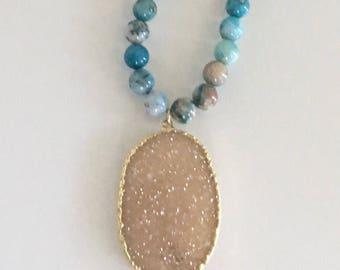 Apatite and druzy necklace