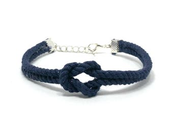 Navy Blue Tie The Knot Rope Bracelet Wedding Favor Wedding Jewelry Bridesmaid Flower Girl Bride Gift