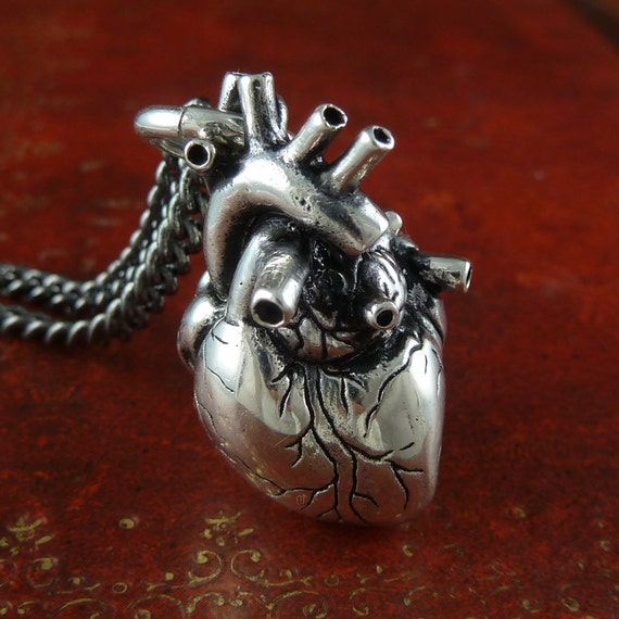 Anatomical Heart Necklace Antique Silver Anatomical Heart