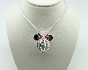 925 Sterling Silver Minnie Mouse Mickey Head Pearl Cage Charm Necklace Disney Pick A Pearl or Wish Pearl Epcot