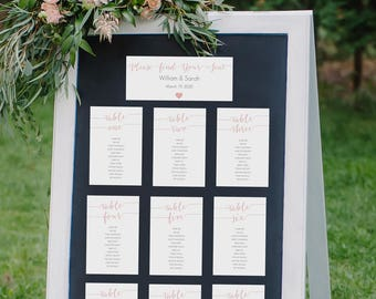 Blush Seating Chart Kit - Printable Template - Tables 1-30 - Instant Download Editable PDF - Pink Wedding Table Cards - 4x6 inches - #GD1107