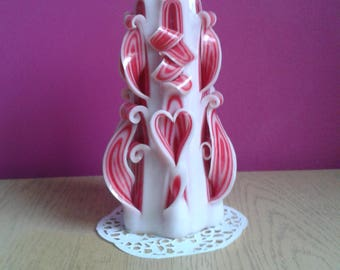 Carved candles,Hearts in love,Hearts ,Red,White,Valentine's day,14.02.,Women's Day,08.03., A purple heart,Homedecorations
