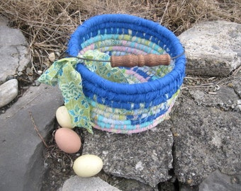 SPRING SKY Textile art  Easter BAsKET  Bucket