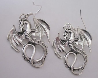 Silver Dragon Earrings, Gothic Winged Dragons, Celtic Dangle Earrings, Silver Flying Dragon