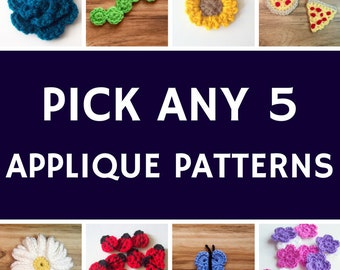 Crochet Applique Pattern Bundle, 5 Patterns, Pick Your Own Patterns, Discount Patterns