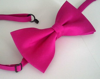 fuchsia pink silk wedding bowtie special occasion dupioni silk formal bow tie pretied