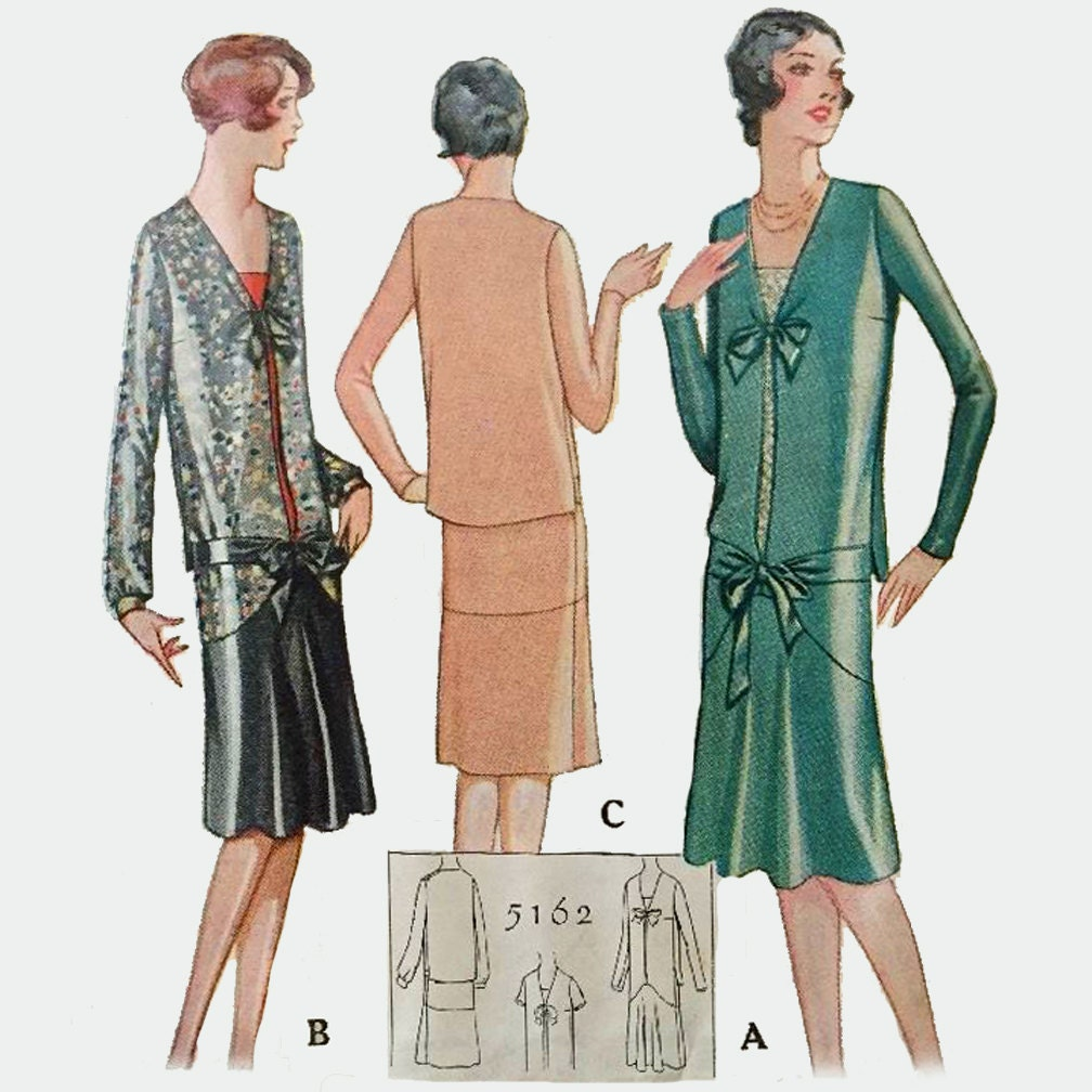 1920s style drop waist long sleeve dress with tie front custom