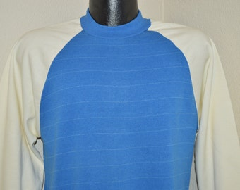 80s Blue White Crewneck Striped Sweatshirt Medium