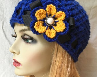 Blue Yellow Sports Team, Crochet Womens Hat Beanie, Royal Blue Gold Yellow, Tigers, Rams, College team, West Virginia, Chunky JE699B2