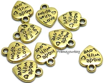 18 pcs pendant Heart Antique Golden (Made With Love) - P16