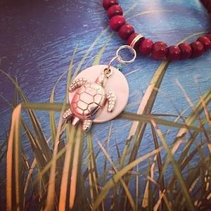 Sandalwood Mala Necklace, with Full Moon Motherofpearl & Turtle Pendant