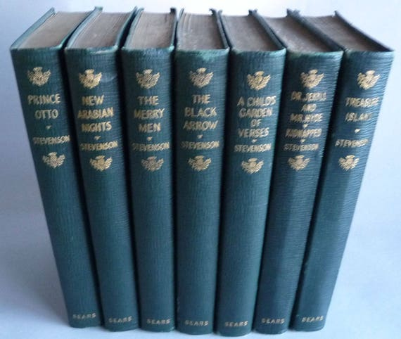 Set of 7 Books by Robert Louis Stevenson Published by J H Sears Ca. 1900s Leatherette Antique Vintage Collectible Lot Series