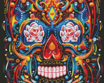 Day of the Dead cross stitch pattern - Sugar skull cross stitch - Floral cross stitch - Halloween design - Large cross stitch chart - PDF