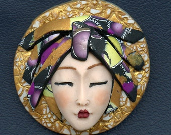 Asian Face cab with abstract Caned hat   OOAK Polymer clay Detailed  ASCR 3