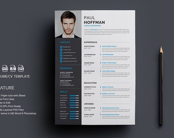 Minimalist Resume Template & Cover Letter + Icon Set for Microsoft Word   4 Page Pack   Professional CV   Instant Download